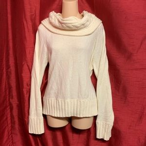 Michael Kors White Knit Cowled Sweater Size XL